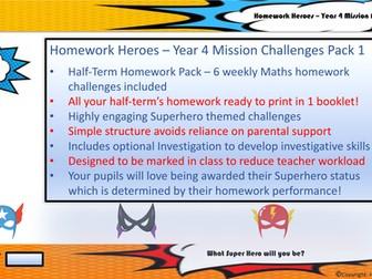 Homework Heroes - Year 4 Mission Pack 1  (Half-Term Maths Homework Pack)