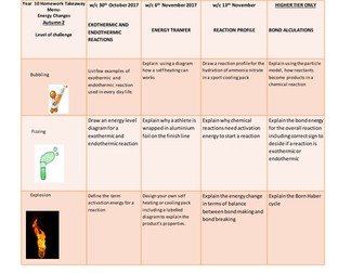 homework take away menu on energy changes trilogy