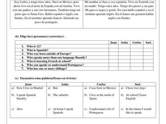 KS3 Spanish lenguas y nacionalidades  ¿de dónde eres?, introducing yourself, reading