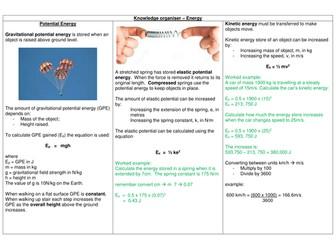AQA GCSE 9-1 PHYSICS Paper One - Energy Knowledge organiser