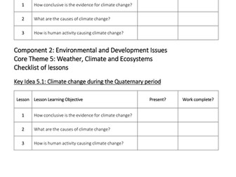 Theme 5: Weather, Climate and Ecosystems Key Idea 5.1 (Eduqas WJEC 9-1)