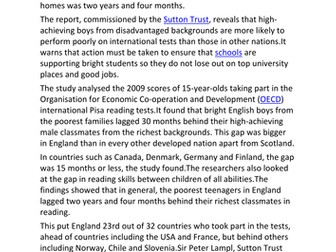 AQA A Level Sociology Education and Class Achievement Lesson One