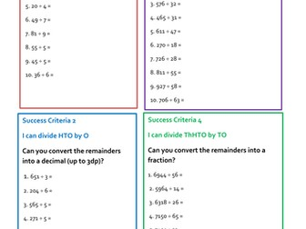 Division Practice Questions Year 6