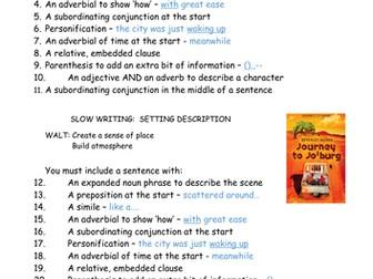 Slow Write. Setting description. Journey to Jo'Burg