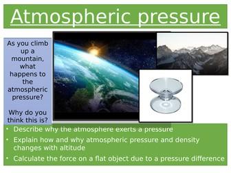 Atmospheric pressure AQA appropriate