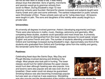 GCSE History Early Elizabethan England L12 Education, Pastimes, Sport and Theatre