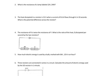Electromotive Force and Internal Resistance Worksheets