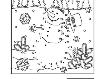 dot to dot and coloring page snowman