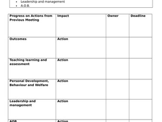 Excellent template for line management meetings, Ofsted ready