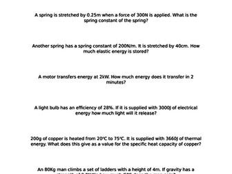 AQA Energy Calculations Test