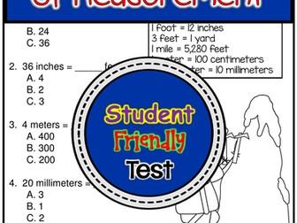 Converting Units of Measurement  Test