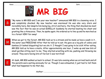 Creative Writing Task - BIG WRITE - MR BIG!