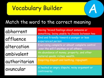 Vocabulary Builder Lesson Starters