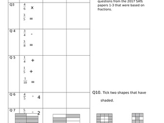 All the fraction based questions from the 2017 KS2 Maths SATs
