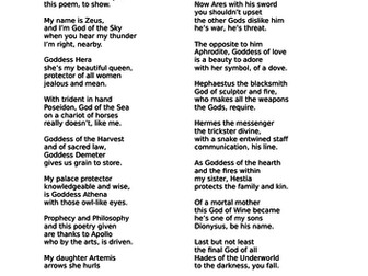 A poem about the main Greek Gods