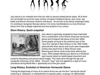 Dance History - History of American Jazz Dance
