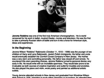 Dance History-Legends in Dance-Jerome Robbins