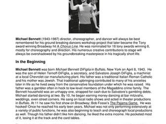 Dance History-Legends in Dance -Michael Bennett