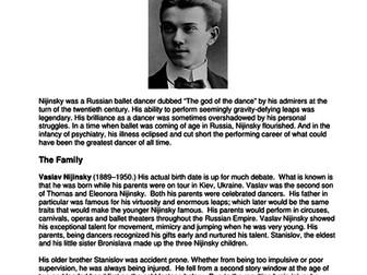 Dance History - Legends in Dance - Vaslov Nijinski