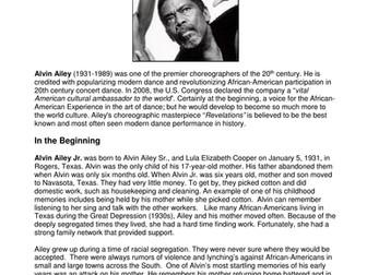 Dance History - Legends in Dance - Alvin Ailey