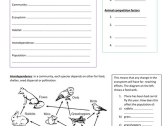 GCSE new spec Biology Higher Ecology Worksheets 1 and 2: communities and biotic and abiotic factors