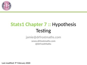 Stats Year 1 - Chapter 7 - Hypothesis Testing