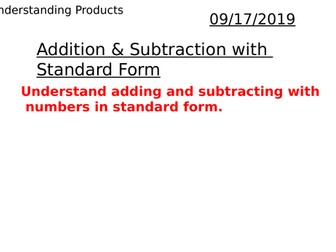 Adding & Subtracting Numbers in Standard Form