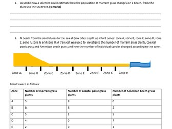 GCSE Biology new spec Higher Tier worksheet on using transects