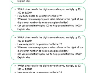 Year 5 Block 4 White Rose Mastery Multiplication and Division Lesson 8 Multiplying by 10, 100 1000