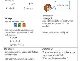 Year 5 Block 4 White Rose Mastery Multiply and Divide Lesson 6 Cube numbers