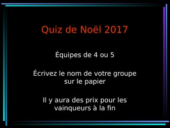 FRENCH CHRISTMAS QUIZ 2017
