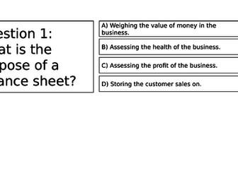 BTEC Business Finance Unit 2 Balance Sheet