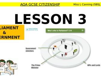 Parliament & Governmnet lesson-AQA GCSE Citizenship