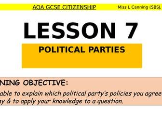 political parties research lesson-AQA GCSE Citizenship