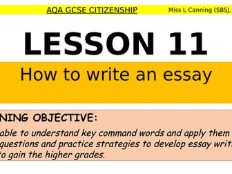 how to write an essay & essay assessment for aqa GCSE Citizenship-theme 3