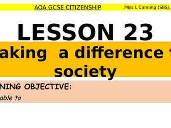 Making a difference in society-AQA GCSE Citizenship