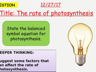 AQA new specification-Rate of photosynthesis-B8.2