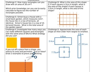 White Rose Block 5 Year 5 Finding Perimeter & Area Lesson 4 Area of rectangles Smart & Worksheet