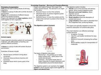 AQA 9-1 GCSE BIOLOGY PAPER ONE - Moving and Changing Materials Knowledge organsier