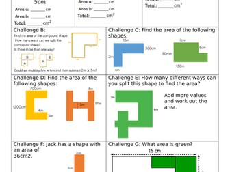 White Rose Block 5 Year 5 Finding Perimeter & Area Lesson 5 Area of compound shapes Smart Worksheet