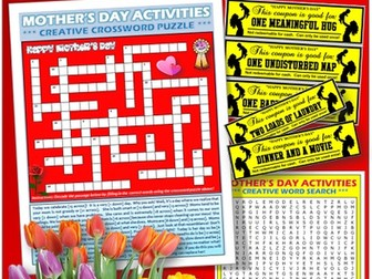 Mother's Day Engaging Activities, Coupons, and Cards