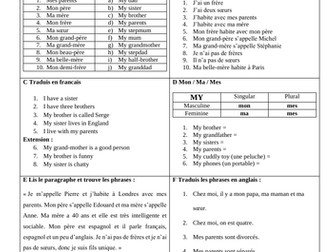 French Ma Famille Introductory lesson (KS3 / Allez 1): Describing my family