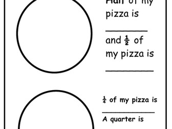 Perfect Pizzas! - Fractions Activity (Halves and Quarters)