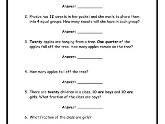 Fractions - word problems!