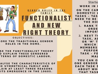 AQA AS Sociology- Families & Households- Gender Roles (Functionalist & New Right)