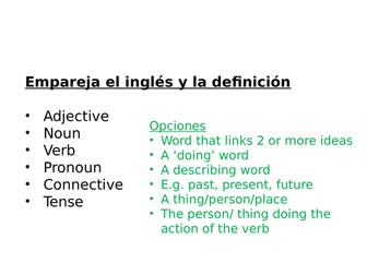 Spanish - Grammar terminology and regular present tense practise