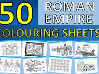 50 x The Romans Roman Empire Colouring Sheets History KS2 KS3 End of Term Fun Activity