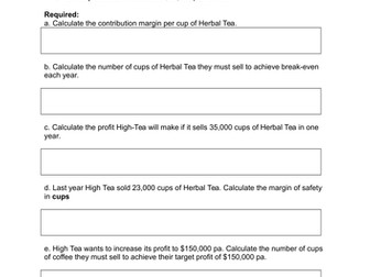 4 x cost profit volume analysis questions and 15 x MCQ for iGCSE, iAS and  BTEC