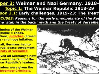 Edexcel Weimar & Nazi Germany, Topic 1: The Weimar Republic, L2: Early Challenges, Treaty Versailles