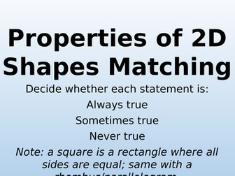 Properties of Shapes Matching